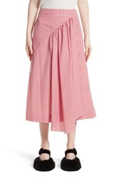 Simone Rocha Women's Three Panel Gingham Midi Skirt Red White