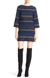Alice Olivia Women's 'Evelina' Bell Sleeve Tweed Shift Dress
