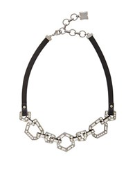 Bcbgmaxazria Hexagonal Plate Link Necklace Hematite