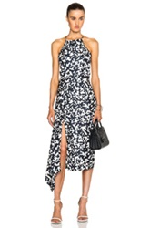 Josh Goot Side Bustle Dress In Blue Abstract