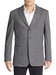 Canali Herringbone Tweed Wool Cotton Blazer Grey