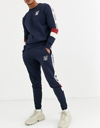 Sik Silk Siksilk Skinny Joggers In Navy With Taping Black