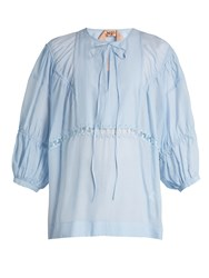 N 21 Lace Insert Cotton And Silk Blend Top Light Blue