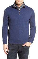 Men's Thomas Dean Regular Fit Quarter Zip Merino Wool Sweater Denim