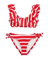 Milly Minis Striped Ruffle Pinafore Two Piece Swimsuit Red White