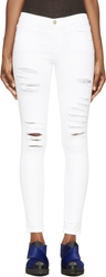Frame Denim White Distressed Le Skinny De Jeanne Jeans