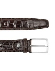 Manieri Men's Brown Croco Stamped Leather Belt