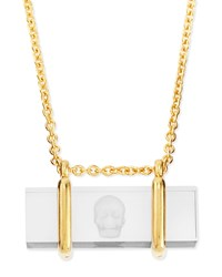 Skull Etched Acrylic Pendant Necklace Alexander Mcqueen Gold