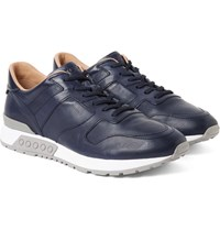 Tod's Panelled Leather Sneakers Navy