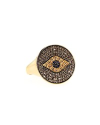 Pave Diamond And Sapphire Evil Eye Ring Sydney Evan Blue