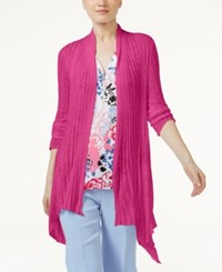 Inc International Concepts Petite Ribbed Open Front Cardigan Only At Macy's Intense Pink