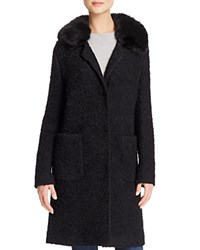 Basler Faux Fur Collar Boucle Coat Black