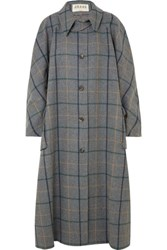 Awake A.W.A.K.E. Oversized Checked Wool Blend Coat Anthracite