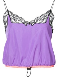Alexander Wang Lace Trim Vest Top Women Nylon Xs Pink Purple