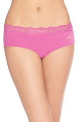 Women's Dkny 'Downtown' Lace Trim Cotton Hipster Briefs Deep Orchid