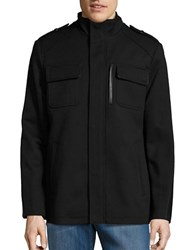 Cole Haan Wool Rich Military Coat Black