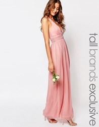 True Decadence Tall Plunge Front Open Back Maxi Dress Pink