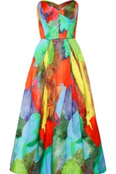 Milly Ava Strapless Printed Cotton And Silk Blend Satin Gown Multi