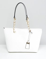 Aldo Structured Shopper Tote Bag With Chain Detail Handle White