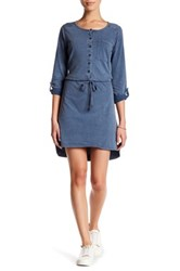 Cable And Gauge Rolled Sleeve Shirt Dress Petite Blue