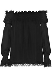 Oscar De La Renta Off The Shoulder Lace Trimmed Silk Chiffon Top Black