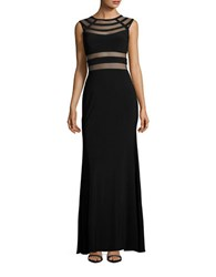 Betsy And Adam Mesh Accented Gown Black