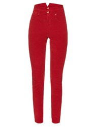 Etoile Isabel Marant Farley High Waisted Corduroy Trousers Red