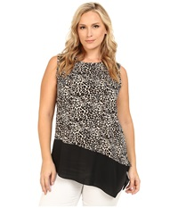 Vince Camuto Plus Plus Size Serengeti Sleeveless Tribal Leopard Mix Med Top W Asymmetrical Hem Rich Black Women's Short Sleeve Pullover