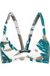 Mikoh Honolulu Cutout Printed Triangle Bikini Top Army Green
