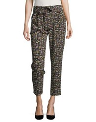 Design Lab Lord And Taylor Floral Print Cropped Pants Black Floral