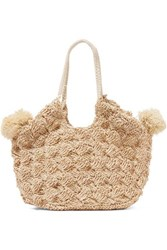Ulla Johnson Lalo Mini Pompom Embellished Straw Tote Beige