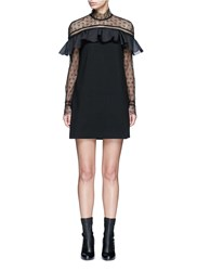 Self Portrait 'Military Cape' Embroidery Lace Ruffle Shoulder Dress Black