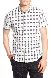 Scotch And Soda Men's Regular Fit Print Woven Shirt White