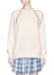 Chloe Molleton Diamond Stitch Trim Drawstring Sweatshirt Neutral