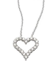 Effy Diamond And 14K White Gold Heart Pendant Necklace