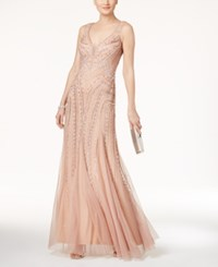 Adrianna Papell Beaded Illusion Gown Rose Gold