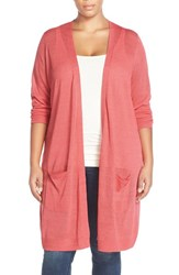 Plus Size Women's Halogen Open Front Long Cardigan Coral Spice