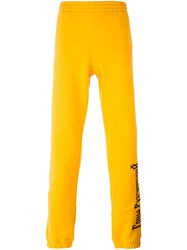 Gosha Rubchinskiy Printed Logo Sweatpants Yellow And Orange