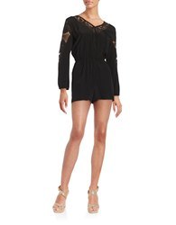 Bb Dakota Lace Accented Long Sleeved Romper Black