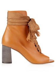 Chloe Harper Lace Up Leather Ankle Boots Tan