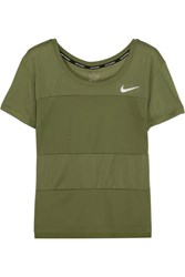 Nike Paneled Dri Fit Stretch Jersey T Shirt Army Green
