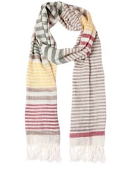 Salvatore Ferragamo Linen And Silk Striped Scarf