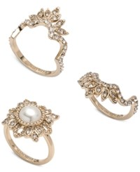 Marchesa Gold Tone 3 Pc. Set Crystal And Imitation Pearl Stacker Rings