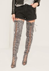 Missguided Grey Lace Up Thigh High Gladiator Boots