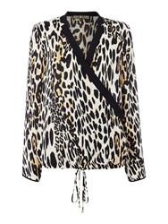 Biba Leopard Print Contrast Collar Blouse Multi Coloured