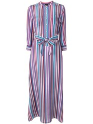 Aspesi Striped Long Belted Dress Purple