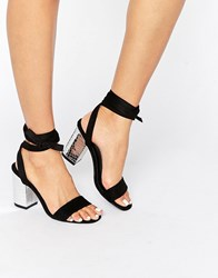 Park Lane Tie Ankle Block Heel Sandal Black Mf Silver