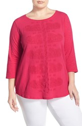 Plus Size Women's Lucky Brand Paisley Embroidered Tee Pink Multi