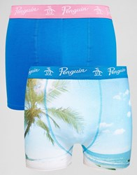 Original Penguin 2 Pack Trunks With Tropical Print Navy
