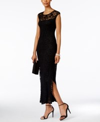 Connected Cap Sleeve Lace Illusion Gown Black